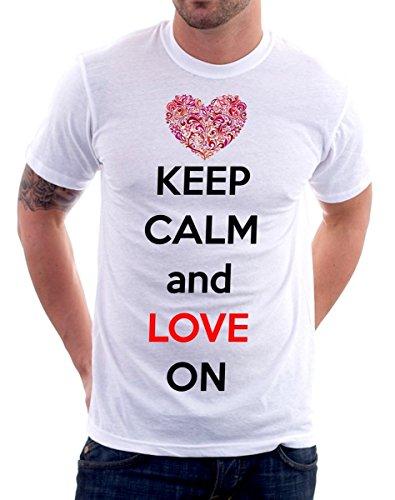 t-shirt-Keep-Calm-and-love-on-S-M-L-XL-Camiseta-by-tshirteria-XXL-blanco-TallaExtra-Large