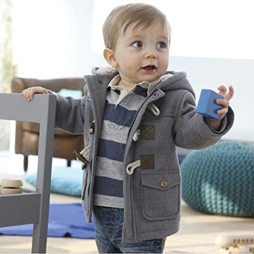 Jinru01 Fashion winter children kids baby boys infant outerwear coat baby kids boys jacket coat 2-6Years Grey 2t