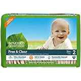 Seventh Generation Free and Clear, Unbleached Baby Diapers, Size 2, pack of 3, Packaging May Vary