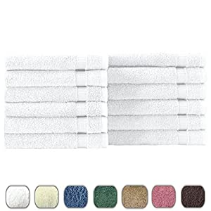 Luxury Hotel & Spa Wash Cloth Towels - 100% Genuine Turkish Cotton - One Dozen - 700gsm Eco-Friendly (White, Wash Cloth - Qty 12)