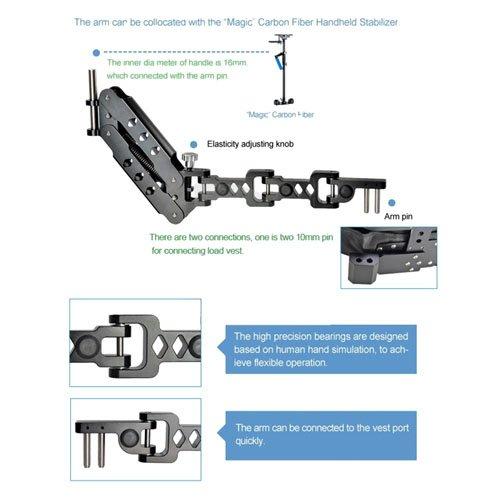 CowboyStudio Magic Carbon Fiber Handheld Stabilizer Kit with Camera Shoulder Load Vest & Single Handle Arm for DSLR DV Camera
