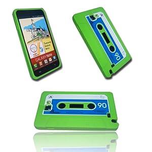 Original Handycop® SILIKON KASSETTE GRÜN Hülle Tasche für Samsung N7000 / I9220 GALAXY NOTE - Green Silicon KASETTE Gruen - Der Retro Trend