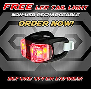 Super Bright USB Rechargeable Bike Light - Blitzu Gator 320 POWERFUL Bike Headlight - TAIL LIGHT INCLUDED. 320 Lumens LED Front Light. Waterproof, Easy Installation for Cycling Safety Flashlight from Blitzu