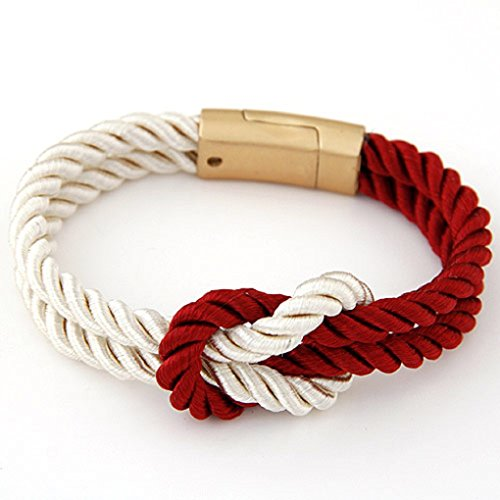 Rope Knot Bracelets with Magnetic Clasp-5 Colors-unisex (Beige and Red)