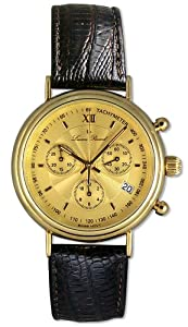 Lucien Piccard 14kt Gold Chronograph Mens Swiss Watch Leather Strap Date LP04732