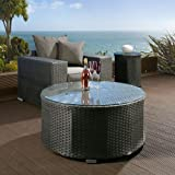 Luxury Outdoor Garden Round Coffee Table Black Rattan / Glass 1.0m dia