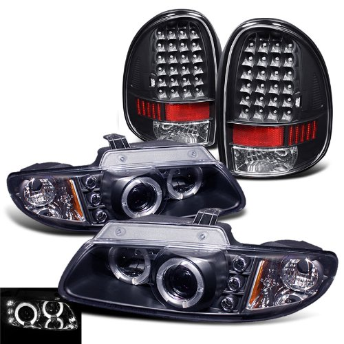 Rxmotoring 1996-2000 Dodge Caravan Projector Headlights + Led Tail Light