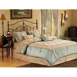 King Bedding on Amazon Com  7pc Cal King Kensington Bed In A Bag Comforter Set Sage