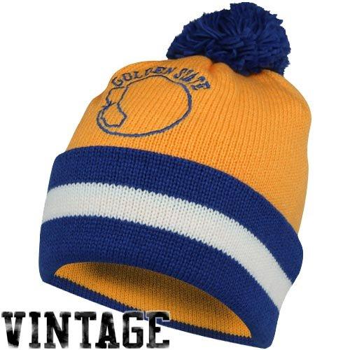 Golden State Warriors Mitchell & Ness NBA Vintage Jersey Stripe Cuffed Knit Hat Cappello w/ Pom