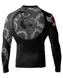 Raven Fightwear Men\'s Venomous Black IBJJF Approved MMA Rash Guard Medium