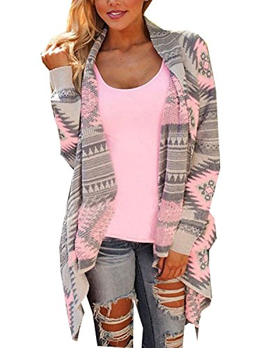 Minetom Donna Primavera Autunno Cardigan Manica Lunga Kimono Maglione Camicia Casual Sciolto Cime Rosa 44