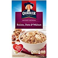 4-Pack Quaker Instant Oatmeal, Raisin, Date & Walnut, Breakfast Cereal, 10-(1.3oz) Packets Per Box