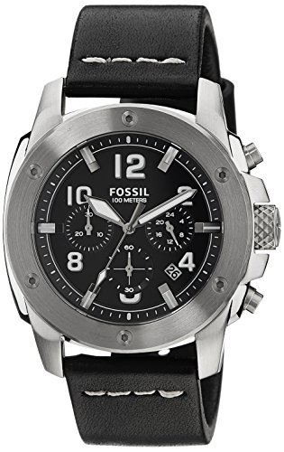Fossil FS4928 - Reloj para hombres, con correa de cuero, color negro