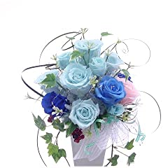 青いバラ*ブリザーブドフラワー白い磁器 フラワーアレンジメント