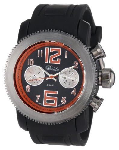 "Breda Men's 8208-orange ""Parker Orange"" Black Silicone Orange Accented Sporty Watch"