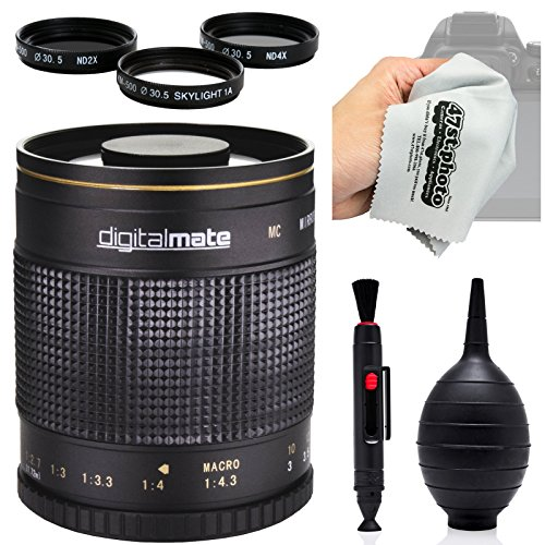 47th Street Photo discount duty free Digitalmate 500mm f/8 HD Reflex Mirror Telephoto Lens for Nikon 1 J5, J4, J3, J2, S2, S1, V3, V2, V1 and AW1 Compact Mirrorless Digital Cameras