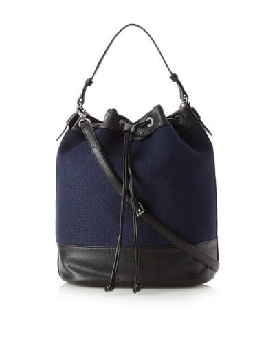 Charlotte Ronson Women's Herringbone Bucket Bag, Blue/Pebble