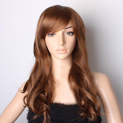 Nouvelle Femme Perruques Longues Ondulées (Brun)
