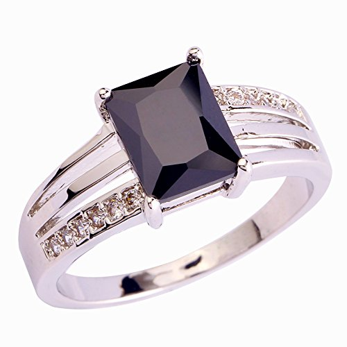 Psiroy Women's 925 Sterling Silver 1.5ct Black Spinel Filled Ring (Silver Rings With Crystal Stone compare prices)