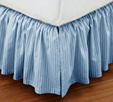 Super Soft Stripe Blue King Size Ruffle Bed Skirt 100% Cotton