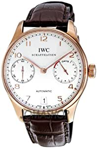 IWC Portuguese Silver Dial 18kt Rose Gold Brown Leather Strap Automatic Mens Watch 5001-13