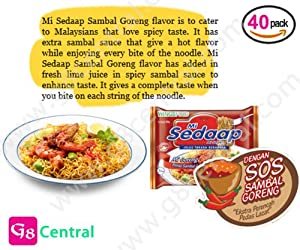 Mi Sedaap Goreng Sambal Pedas, HOT & SPICY Fried Noodle Flavor 100% HALAL 88g, Pack of 40 from G8 Ramen