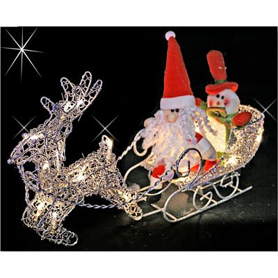 PW Reindeer and Sleigh Illuminated Christmas Decoration