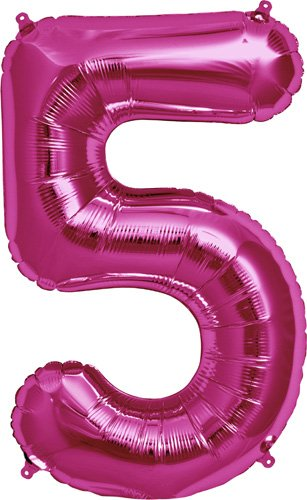 Number 5 - Magenta Helium Foil Balloon - 34 inch