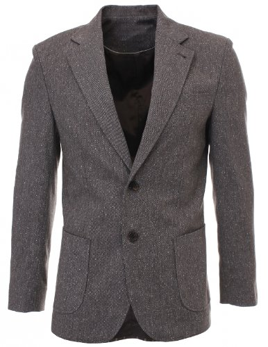 Flatseven Mens Slim Fit Two Button Premium Wool Blends Blazer Jacket (Bj904) Brown, Xs