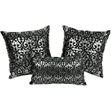Blazing Needles Paisley Scaled Throw Pillows, Black Velvet/Silver Foil, Set of 3