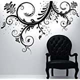 Floral Ornaments Flower Wall Decal Sticker by Stickerbrand #310A-BLACK 44in X 66in. Easy to Apply and Removable. Made in the USA. No Glue Needed. Safer than wallpaper. BLACK color