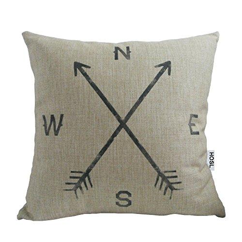 HOSL Retro Cotton Linen Square Vintage Throw Pillow Case Shell Decorative Cushion Cover Pillowcase Compass about 17.3*17.3 Inch(44CM*44CM)