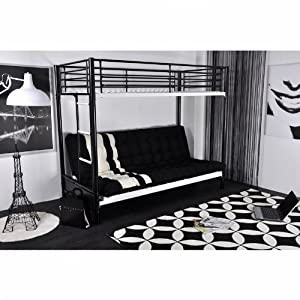 lit mezzanine noir et blanc 1 personne clic clac 2 places tami cuisine maison. Black Bedroom Furniture Sets. Home Design Ideas