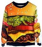 Unko Men Hamburger Print Galaxy Roll Neck Sweatshirt Sweaters Top F orange