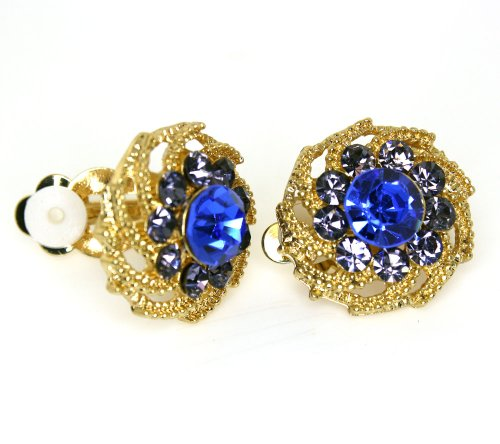 Vintage Sapphire Blue and Amethyst Austrian Crystal Flower Clip-on Earrings