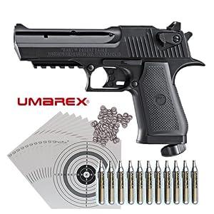 SET: (P18) UMAREX Softair Co2 Kapselpistole Baby Desert Eagle 3,5 Joule + 11 Co2 Kapseln + 2000 UMAREX Stahlkugeln + 100 ShoXx.® Zielscheiben + Kugelfang