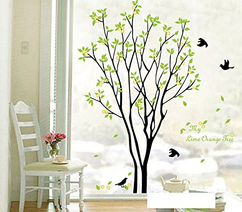 Alrens_DIY(TM)My Time Change Free Dreaming Tree Green Leaves Flying Swallows Birds DIY Eco-friendly PVC Vinyl Wall Sticker Removable Home Decoration Creative Art Self-adhesive Décor adesivo de parede Mural Bedroom Living Room Decorative Decal