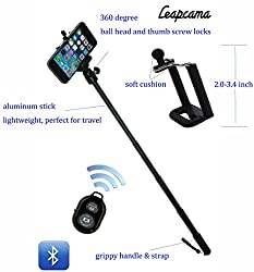 LEAPCAMA(TM) New Design Aluminium Alloy Black Extendable Waterproof Selfportrait Photo Selfie Handheld Stick 360 Degree Adjustable Monopod Ball Head for 1/4 Inch Screw With Adajustable Phone Holder Stand for iPhone 5/5s 5C iPhone 6 Samsung Blackberry