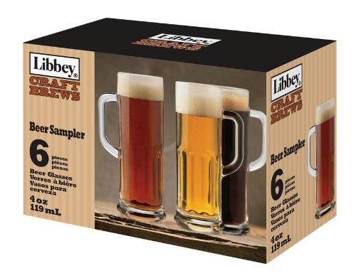 Libbey Craft Brews 4-Ounce Clear Beer Sampler Glass Set, 6-Piece (Small Beer Glasses compare prices)