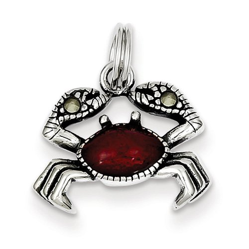Sterling Silver Enameled Red Crab Charm. Metal Wt- 1.5g