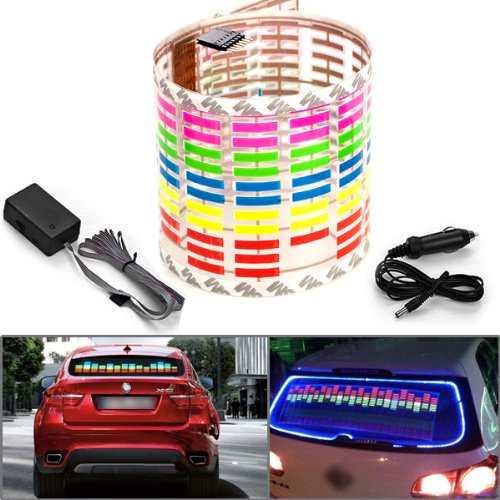 45x11cm DC 12V Sound Sensitive Music Beat Activated Car Sticker Equalizer Glow Colorful LED Light with Car Cigarette Charger Universal Decoration