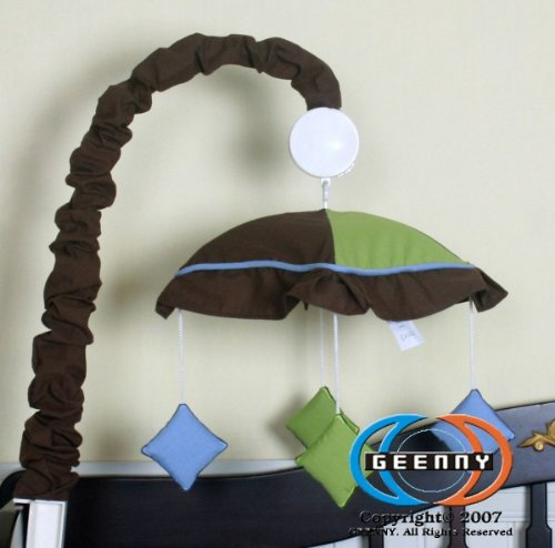 GEENNY Musical Mobile For Boutique Blue Brown Diamond 13 PCS Crib Bedding Set