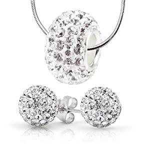 Charm Set Necklace Stud Earrings Stainless Steel, 8mm Earrings Swarovski Crystal Ball, White Swarovski Crystal Bead Necklace - 3 Pieces