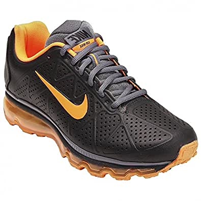 Nike Air Max+ 2011 Leather Mens Running Shoes [456325-080] Black/Total Orange-Dark Grey Mens Shoes 456325-080-7.5