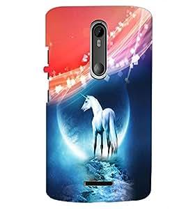 PrintDhaba White Horse D-4013 Back Case Cover for MOTOROLA MOTO X3 (Multi-Coloured)