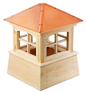 "43"" Handcrafted ""Charlotte"" Copper Roof Wood Cupola"