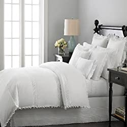 Martha Stewart Pintuck Eyelet 200T Chalk (White) King Bedskirt