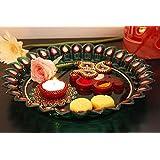 Rakhi Thali Plate For Raksha Bandhan With Paisley Kumkum Box And Diya Tea Light Holder