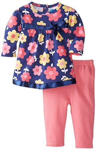 Bon Bebe Baby-Girls Newborn Flower 2 Piece Dress And Legging Set, Multi, 6-9 Months front-1045568