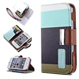 ATC Wallet Leather Case stand with Credit ID Card slot Holder Cover Pouch For iPhone 4 4S with free screen protector- Black, Brown, Blue